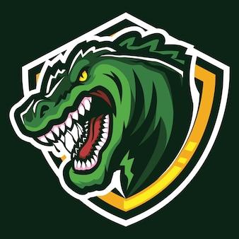 Illustrazione di logo esport coccodrillo gigante arrabbiato