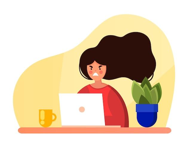 La ragazza arrabbiata sta guardando il laptop in stile cartone animato piatto