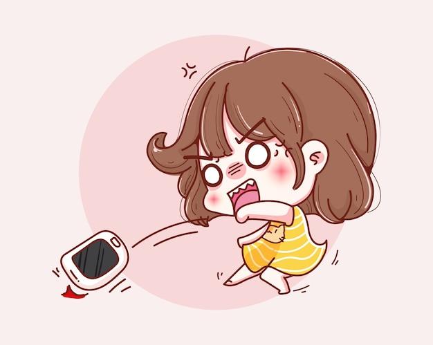 Ragazza arrabbiata che getta il telefono e il design del personaggio.