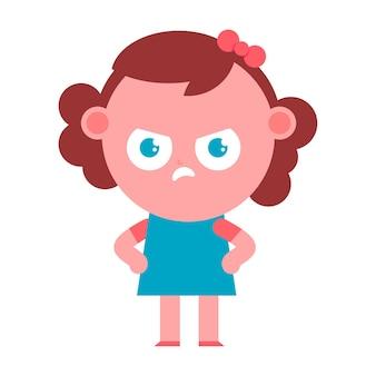 Personaggio dei cartoni animati di ragazza arrabbiata vettoriale isolato su sfondo bianco.