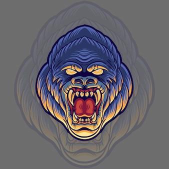 Illustrazione della testa di gorilla arrabbiato