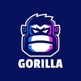 Design logo testa di gorilla arrabbiato