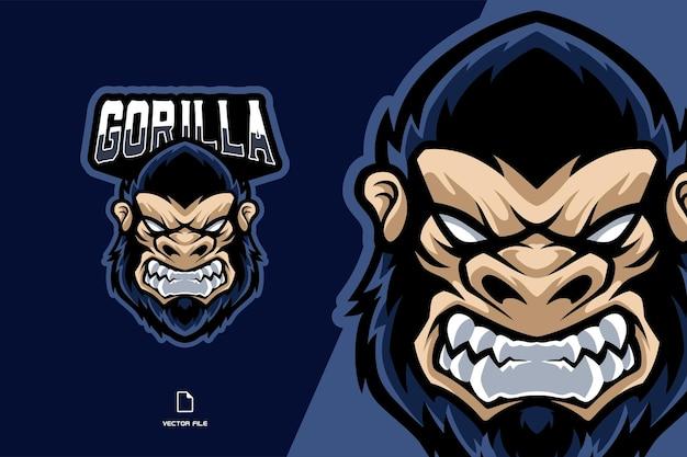 Illustrazione di logo di gioco esport mascotte testa di gorilla arrabbiato