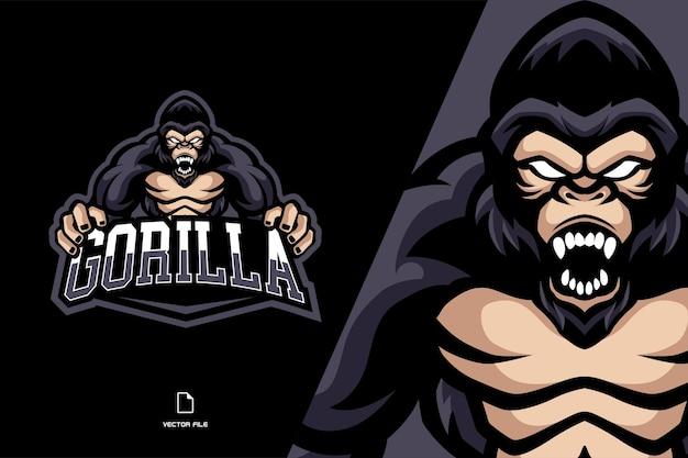 Illustrazione di logo mascotte gorilla arrabbiato