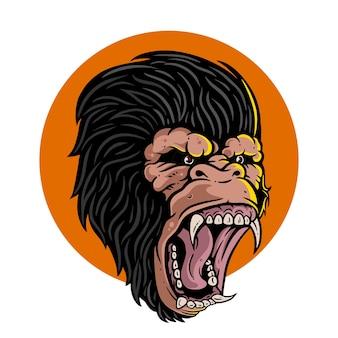 Gorilla arrabbiato mostra i denti Vettore Premium