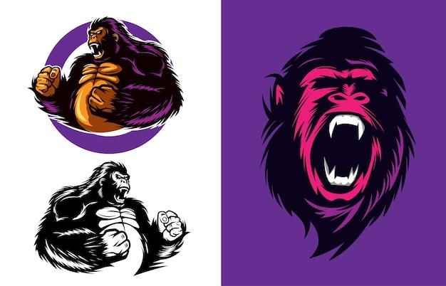 Illustrazione vettoriale di gorilla arrabbiato