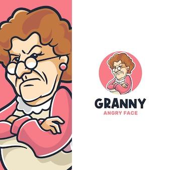 Modello logo nonna arrabbiata che cucina al forno