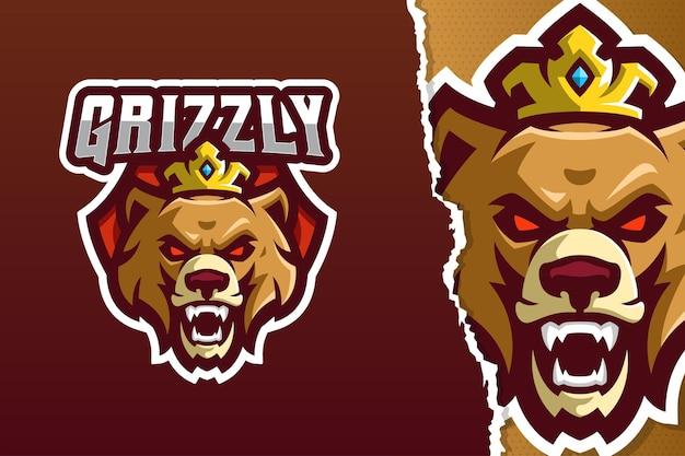 Modello di logo della mascotte dell'orso grizzly arrabbiato
