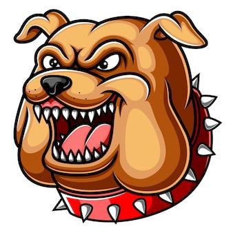 Mascotte testa arrabbiata del bulldog
