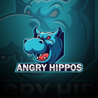 Logo della mascotte esport ippopotami arrabbiato