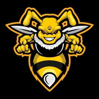 Illustrazione del logo esport hornet arrabbiato