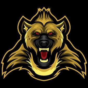 Illustrazione del logo esport hyena arrabbiato