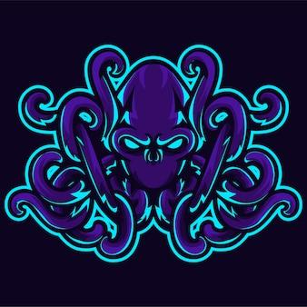 Modello di logo di tentacolo testa di polpo arrabbiato kraken