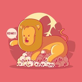 Illustrazione di leone arrabbiato concetto di design divertente animale