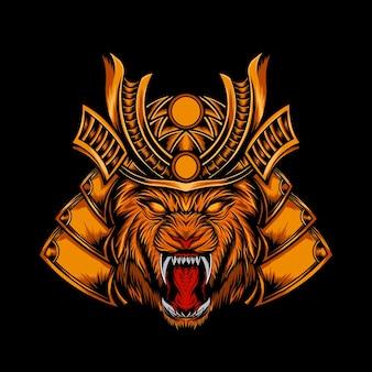 Illustrazione di leone arrabbiato con samurai corazzato