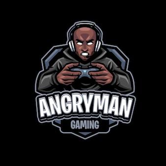Modello di logo della mascotte dell'uomo arrabbiato