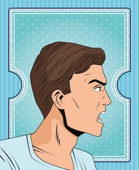Carattere di stile pop art profilo uomo arrabbiato