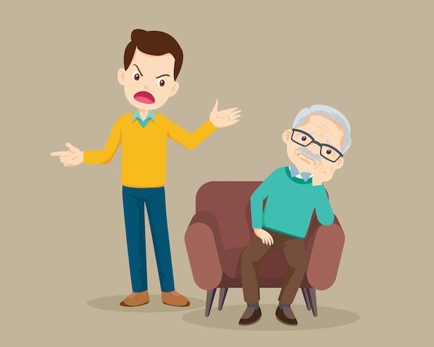 L'uomo arrabbiato rimprovera agli anziani tristi