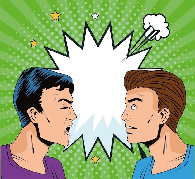Uomini arrabbiati profila personaggi in stile pop art