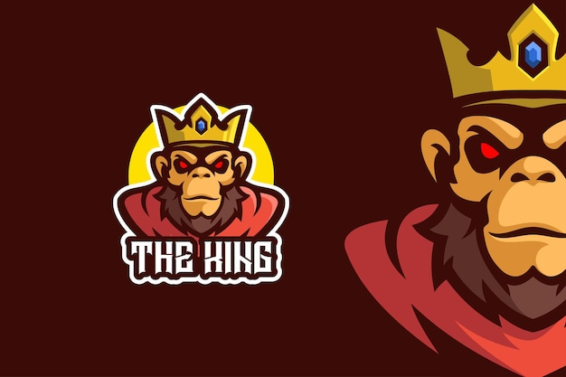 Modello di logo del personaggio mascotte del re scimmia arrabbiato