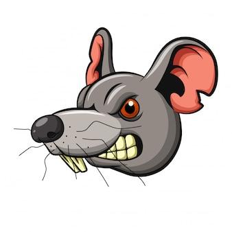 Design mascotte testa di mouse arrabbiato