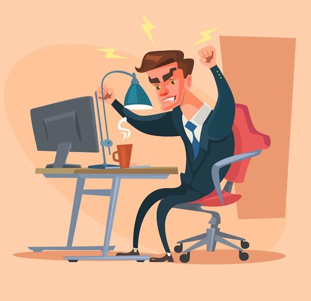Carattere dell'uomo arrabbiato dell'ufficio isolato sul beige