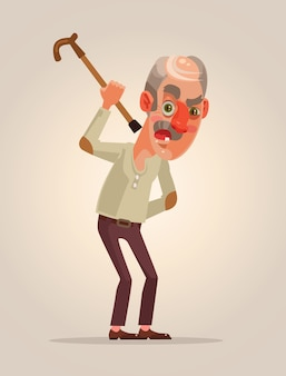 Carattere dell'uomo anziano arrabbiato.