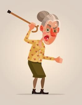 Carattere di donna anziana arrabbiata.