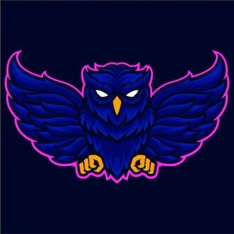 Modello di logo di ali di gufo arrabbiato
