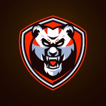 Modelli di logo di esports panda arrabbiato