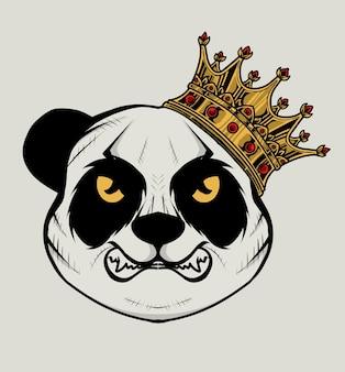 Testa di panda arrabbiato con illustrazione della corona del re