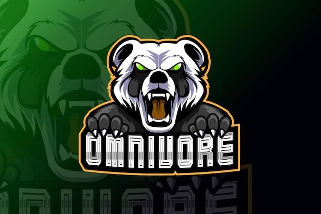 Mascotte del panda arrabbiato per lo sport e il logo dello sport isolato su sfondo scuro