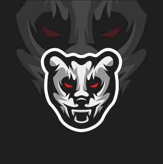 Mascotte del panda arrabbiato