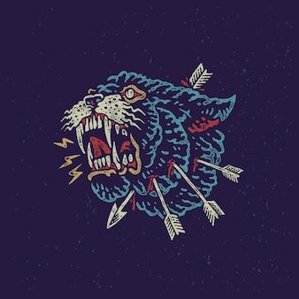 Illustrazione disegnata a mano d'annata della bestia arrabbiata della pantera
