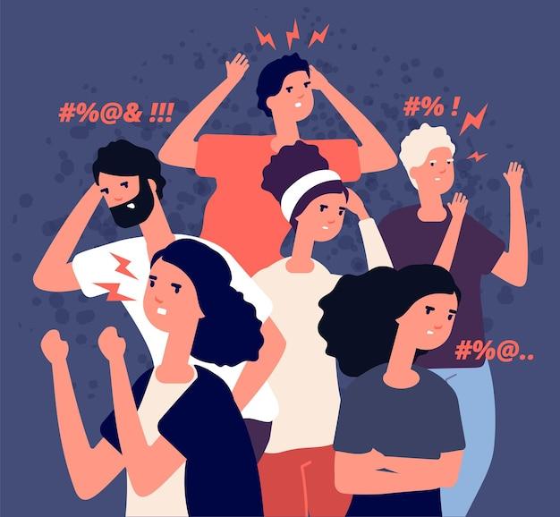 Groupe di persone arrabbiate. problema di comunicazione con persone egoiste fastidiose arroganti sgradevoli