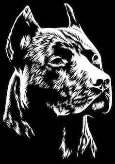Testa mascotte pitbull arrabbiata
