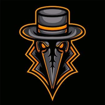 Logo arrabbiato della mascotte del mietitore per lo sport isolato su fondo scuro