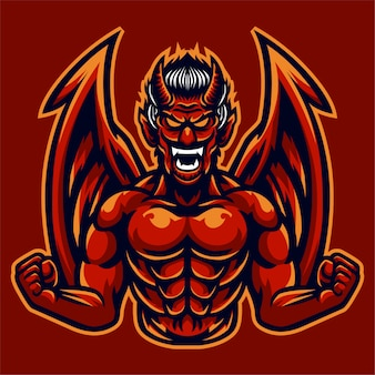 Angry red devil wings logo template