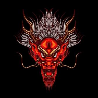 Illustrazione della testa del drago rosso arrabbiato