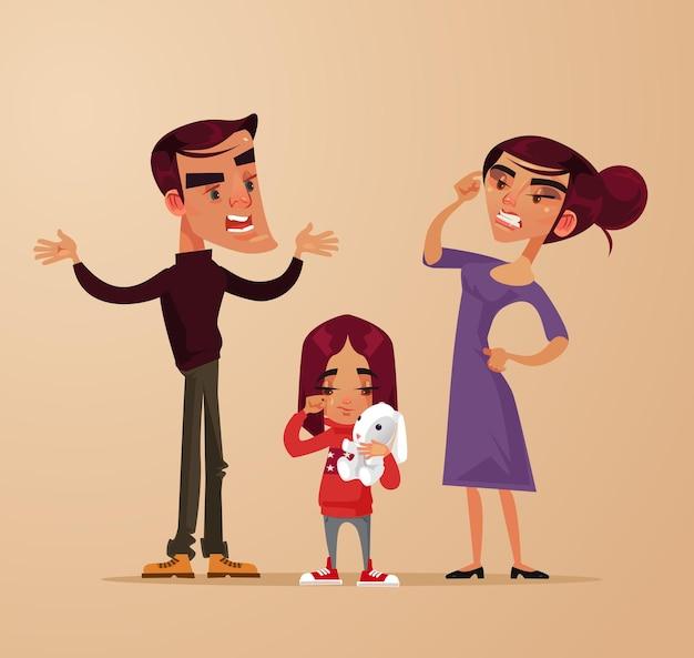 Genitori arrabbiati tristi caratteri uomo donna litigano vicino figlia bambina
