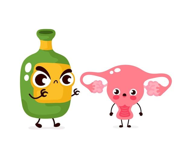 Bottiglia di alcol spaventoso arrabbiato uccide il carattere dell'utero