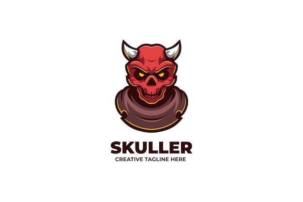 Logo del personaggio mascotte demone teschio arrabbiato