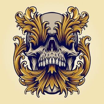 Illustrazioni di ornamenti d'oro vittoriano teschio arrabbiato