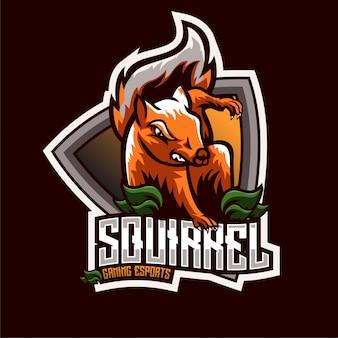 Logo della mascotte scoiattolo arrabbiato