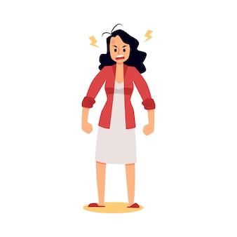Personaggio dei cartoni animati di donna stressata arrabbiata in piedi con i pugni chiusi, illustrazione vettoriale piatto isolato su superficie bianca