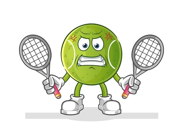 Cartone animato arrabbiato palla da tennis