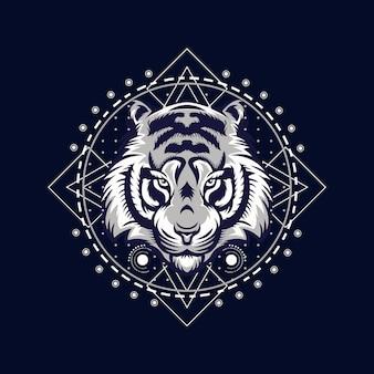 Illustrazione vettoriale di faccia di tigre arrabbiata