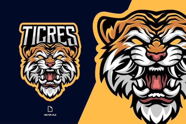 Logo del gioco di esport della mascotte della testa di tigre arrabbiata per la squadra sportiva