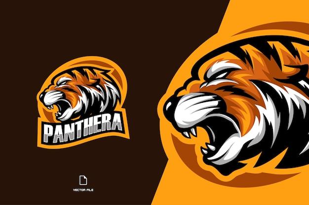 Logo mascotte testa di tigre arrabbiata per squadra di gioco con distintivo ovale