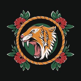 Testa di tigre arrabbiata con cornice floreale per il design di tatuaggi e magliette